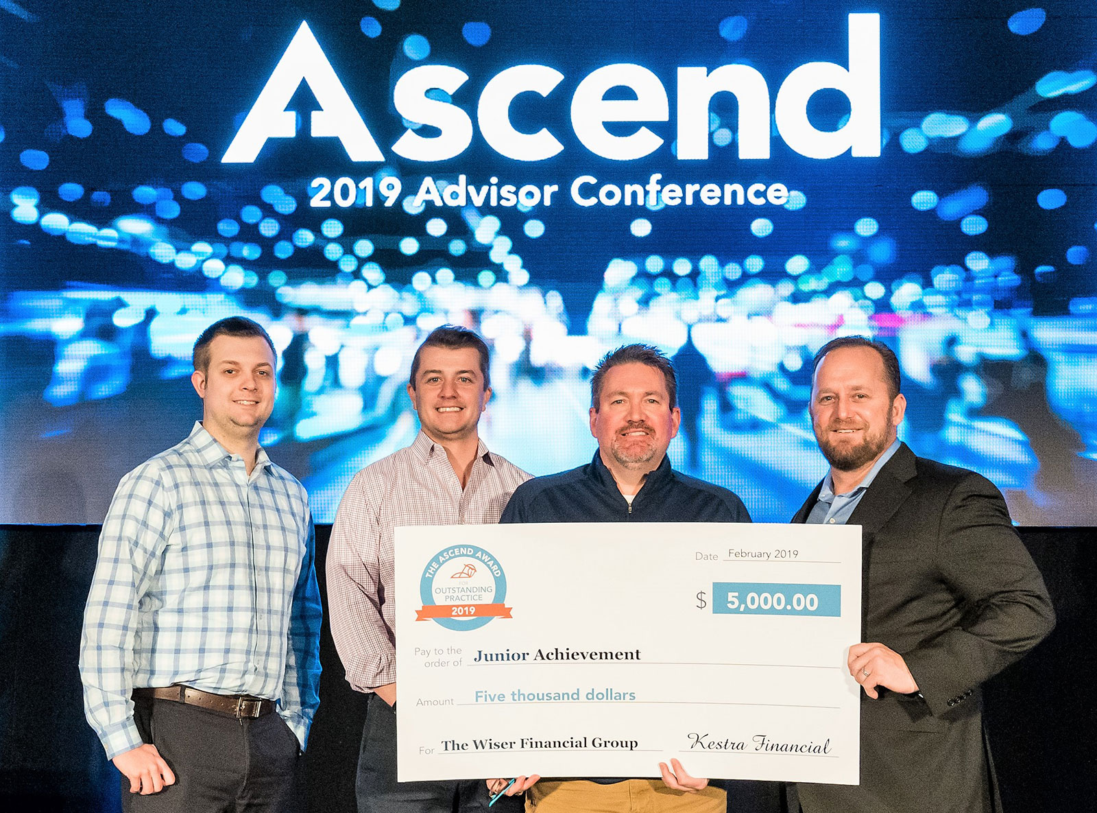The Wiser Financial Group awarded the 2019 Ascend Award for Outstanding Practice by Kestra Financial